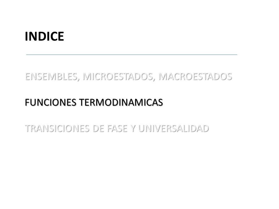 INDICE ENSEMBLES, MICROESTADOS, MACROESTADOS FUNCIONES TERMODINAMICAS TRANSICIONES DE FASE Y UNIVERSALIDAD aaaaaaaaaaaaaaa