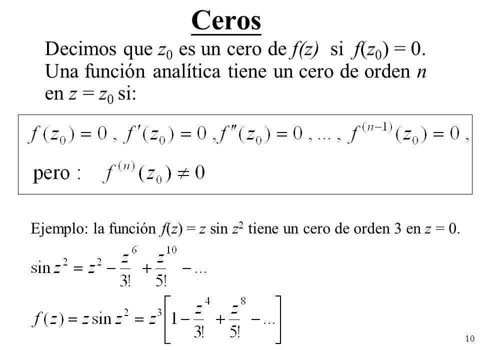 10 Ceros Decimos que z 0 es un cero de f(z) si f(z 0 ) = 0.