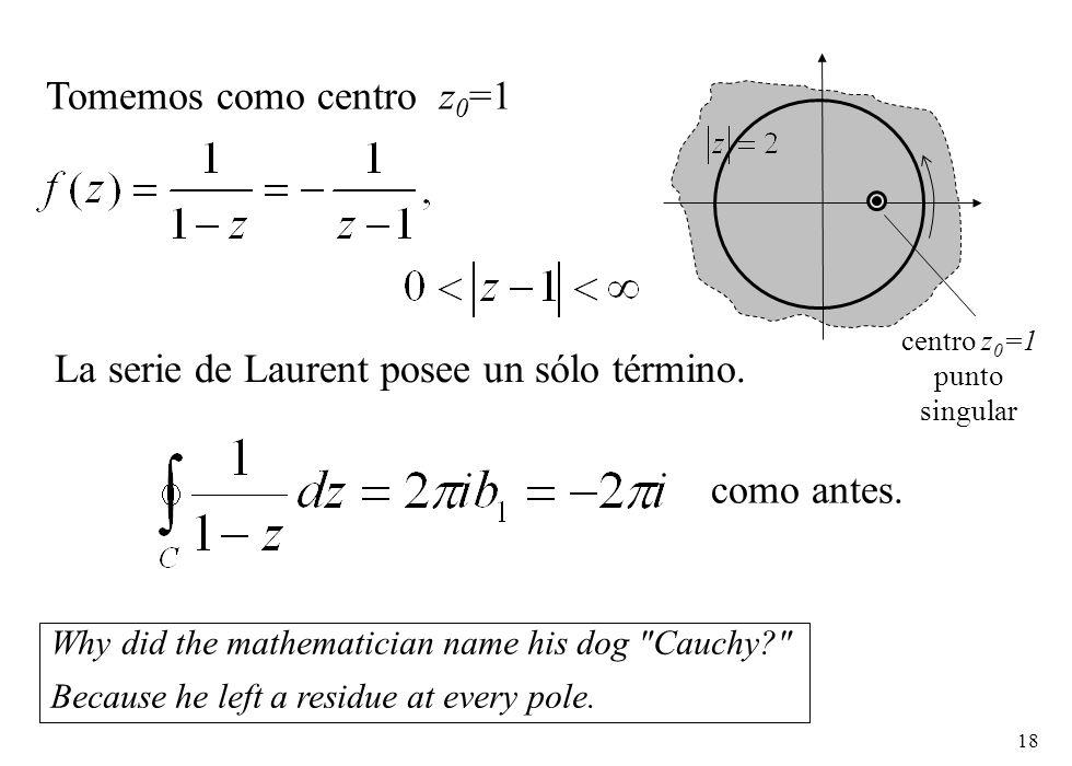 18 Tomemos como centro z 0 =1 centro z 0 =1 punto singular La serie de Laurent posee un sólo término.