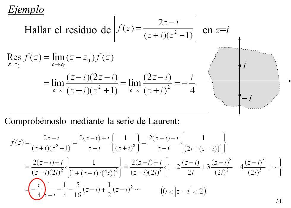 31 Ejemplo Hallar el residuo de en z=i Comprobémoslo mediante la serie de Laurent: