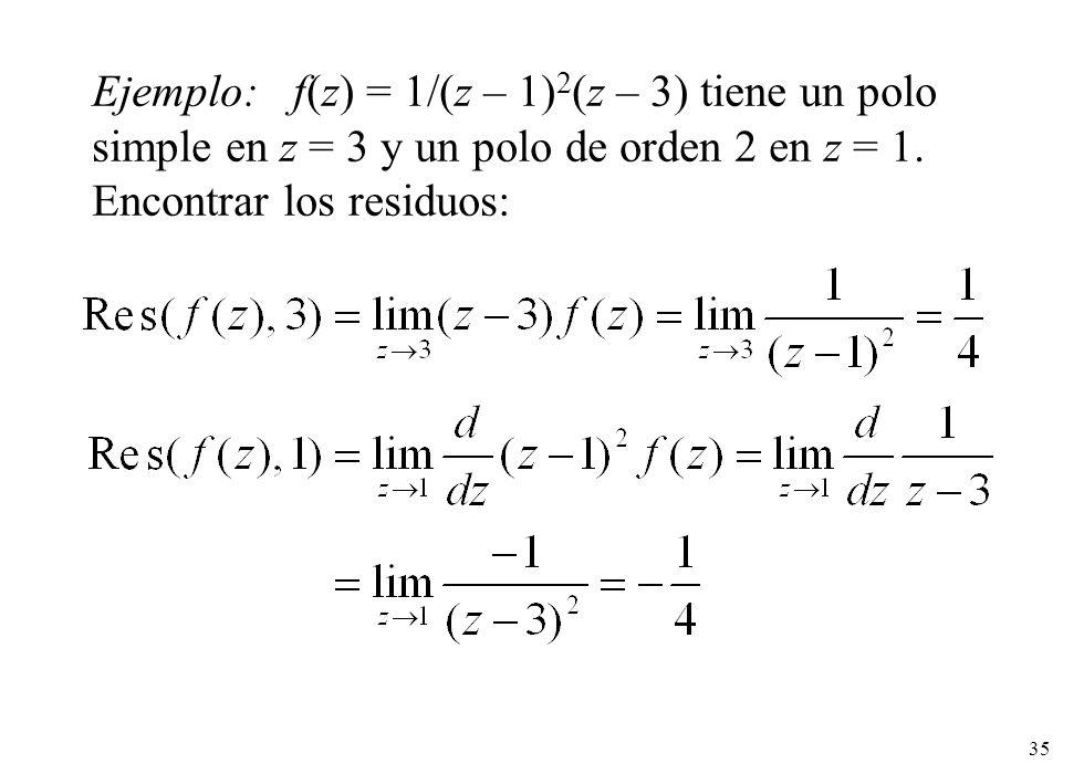 35 Ejemplo: f(z) = 1/(z – 1) 2 (z – 3) tiene un polo simple en z = 3 y un polo de orden 2 en z = 1.