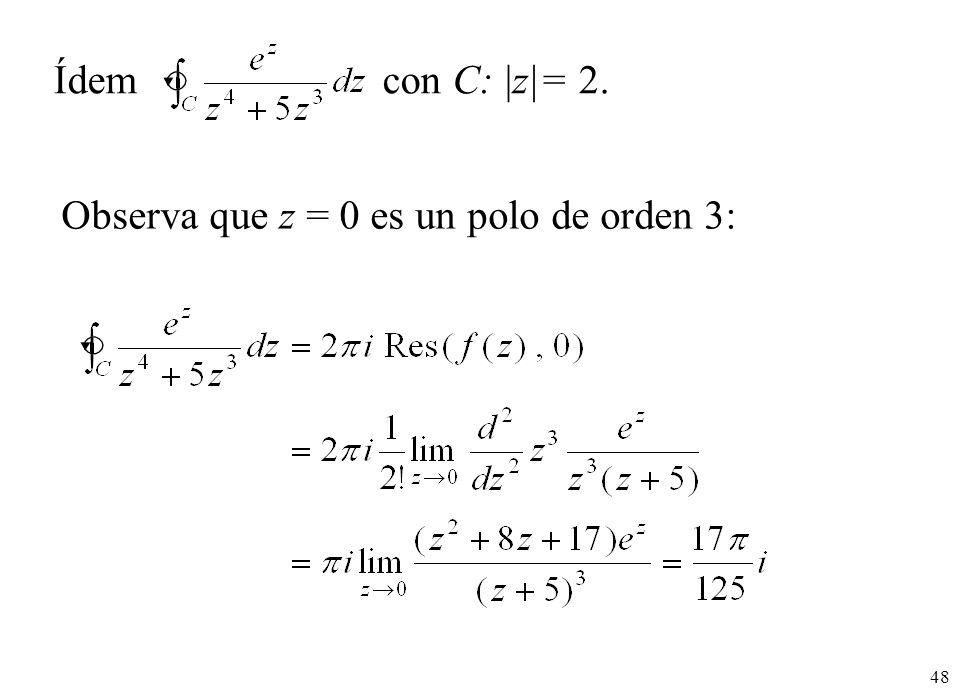 48 Ídem con C: |z|= 2. Observa que z = 0 es un polo de orden 3: