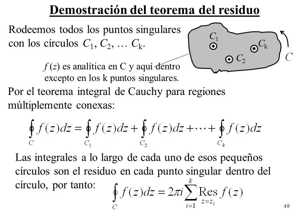 49 Demostración del teorema del residuo Rodeemos todos los puntos singulares con los círculos C 1, C 2, C k.