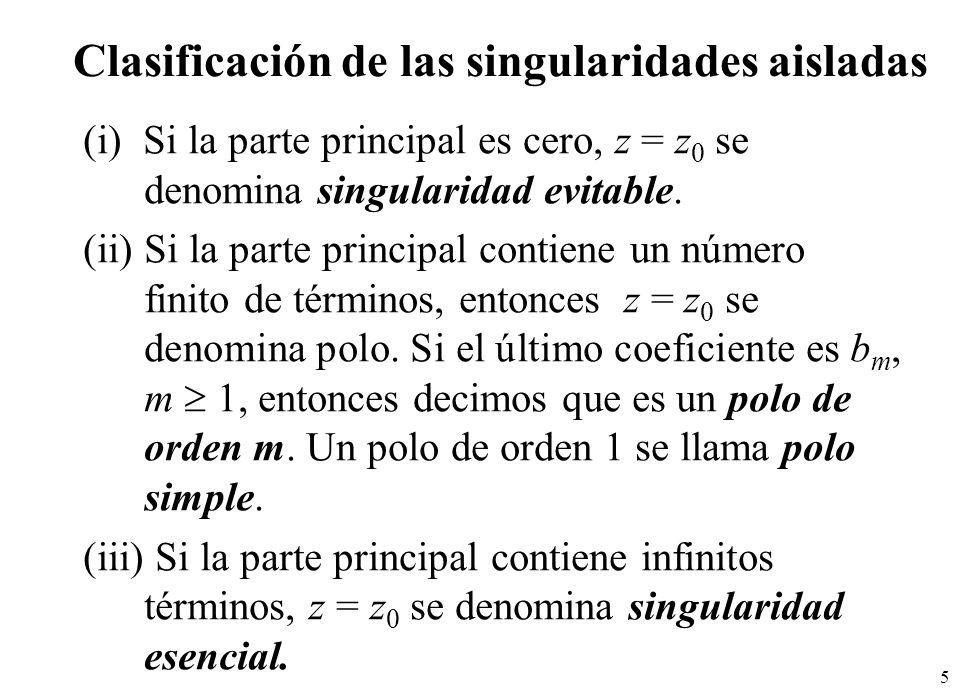 76 C z=-1 z=4 z=3 z=-3 Re(z) Por el teorema del residuo en el infinito: Por el teorema de Cauchy-Goursat en dominios múltiplemente conexos: C2C2 C3C3 C1C1