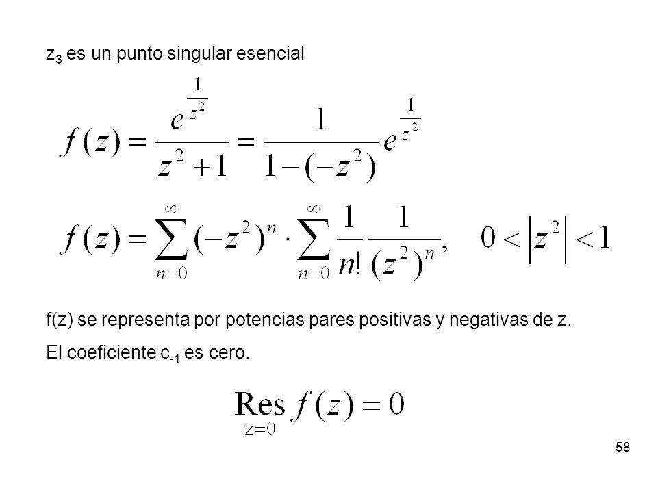 58 z 3 es un punto singular esencial f(z) se representa por potencias pares positivas y negativas de z.