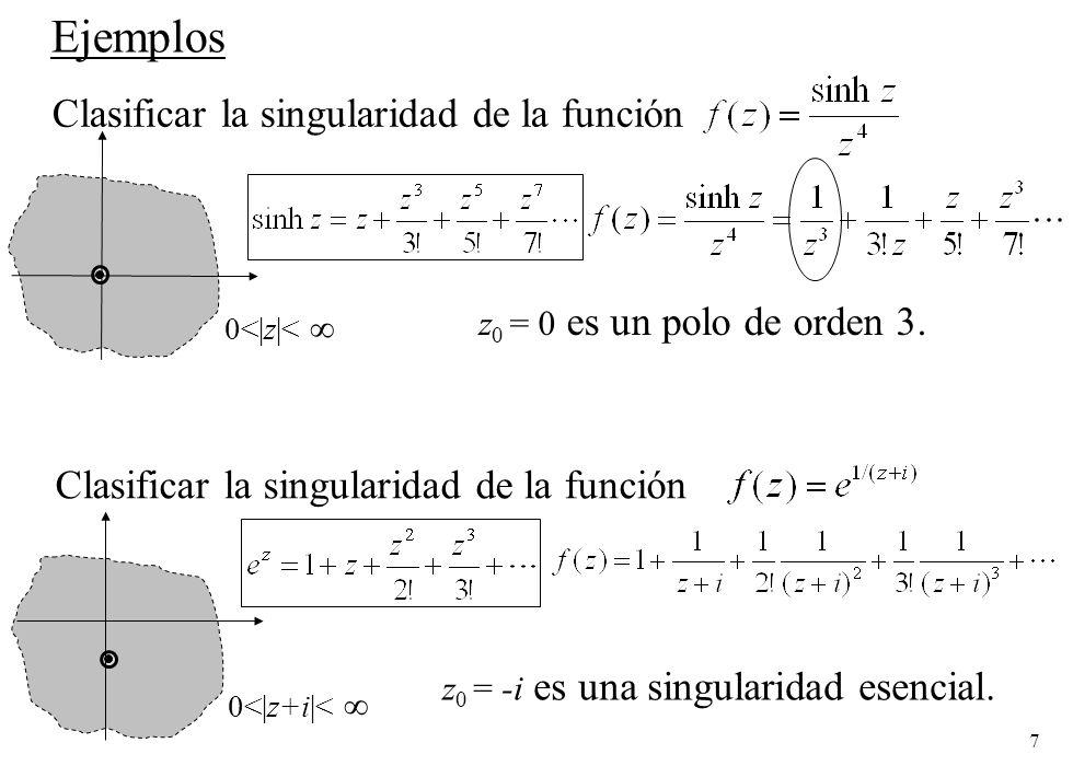 7 Ejemplos Clasificar la singularidad de la función z 0 = 0 es un polo de orden 3.