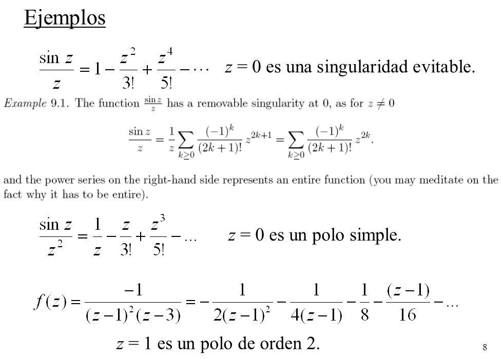 19 Ejemplo: Integrar la función en sentido positivo para |z|=3/2.