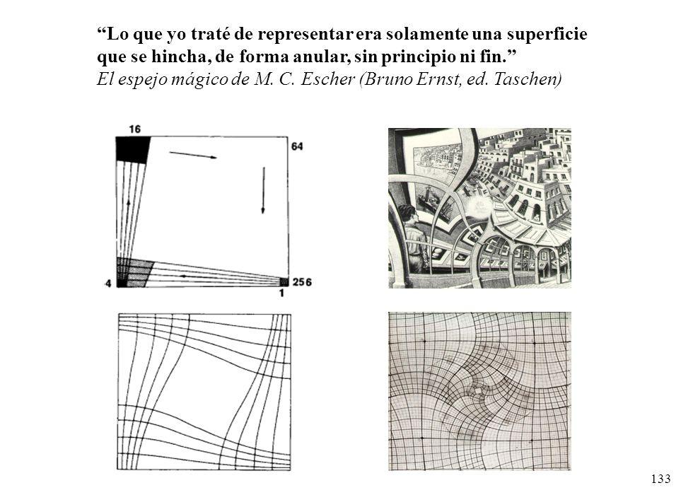 133 Lo que yo traté de representar era solamente una superficie que se hincha, de forma anular, sin principio ni fin. El espejo mágico de M. C. Escher