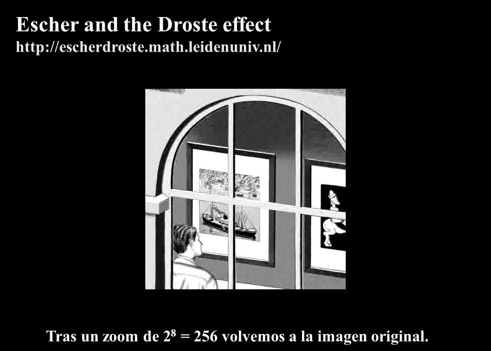 139 Tras un zoom de 2 8 = 256 volvemos a la imagen original. Escher and the Droste effect http://escherdroste.math.leidenuniv.nl/