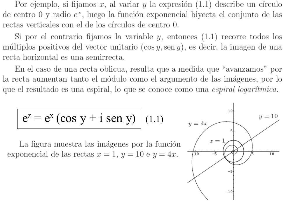 15 e z = e x (cos y + i sen y) (1.1)