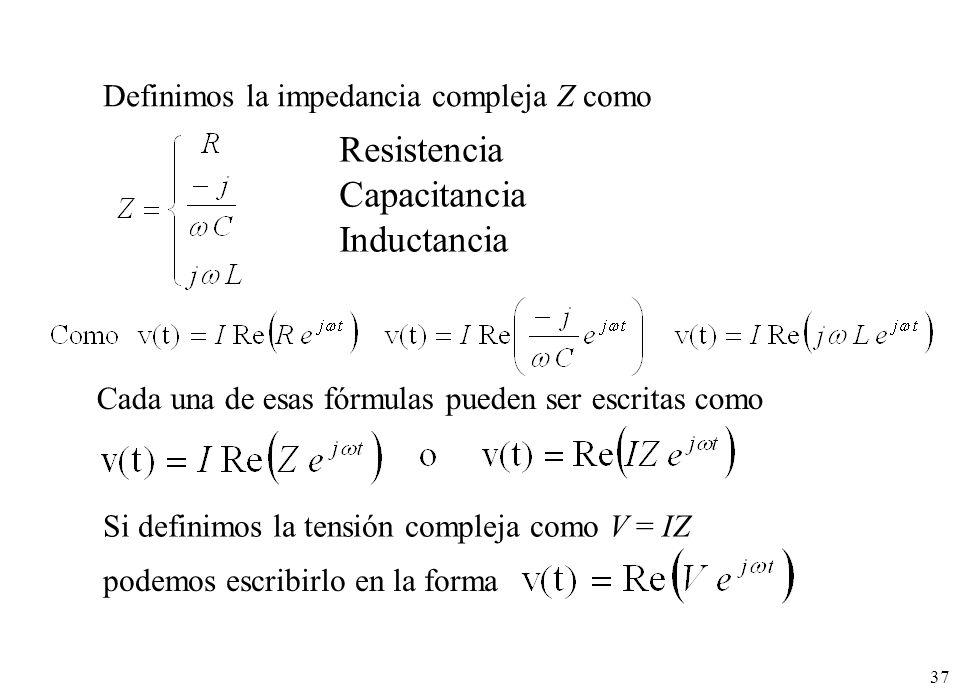 37 Definimos la impedancia compleja Z como Si definimos la tensión compleja como V = IZ Cada una de esas fórmulas pueden ser escritas como podemos esc