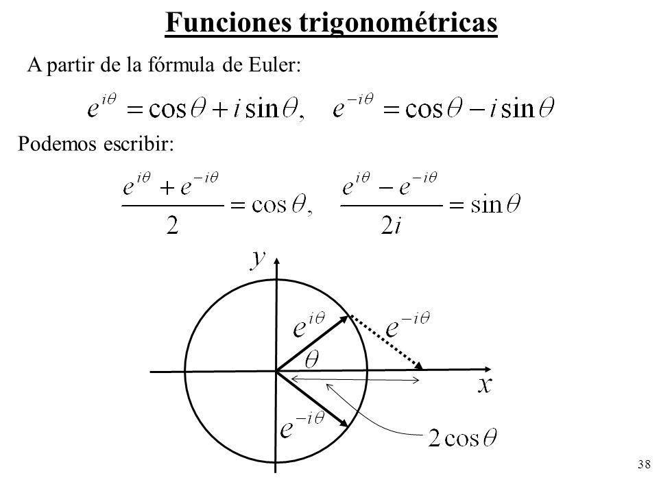 38 Podemos escribir: Funciones trigonométricas A partir de la fórmula de Euler: