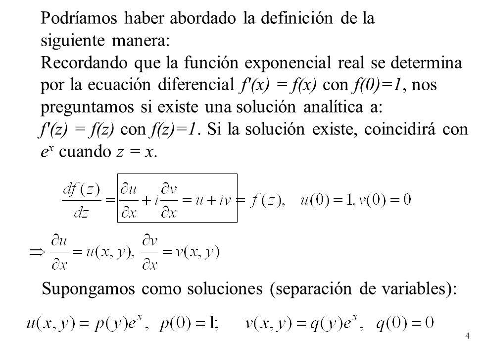 4 Podríamos haber abordado la definición de la siguiente manera: Recordando que la función exponencial real se determina por la ecuación diferencial f