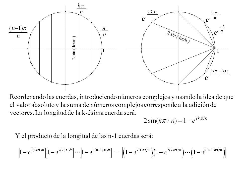 Reordenando las cuerdas, introduciendo números complejos y usando la idea de que el valor absoluto y la suma de números complejos corresponde a la adi