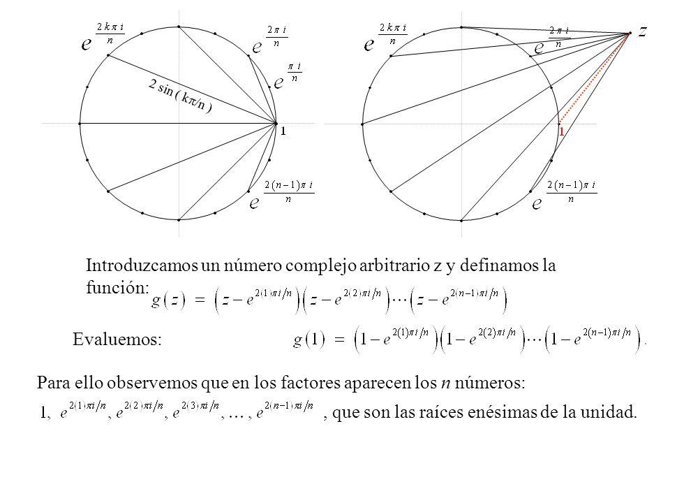 Introduzcamos un número complejo arbitrario z y definamos la función: 2 sin ( k /n ) Evaluemos: Para ello observemos que en los factores aparecen los