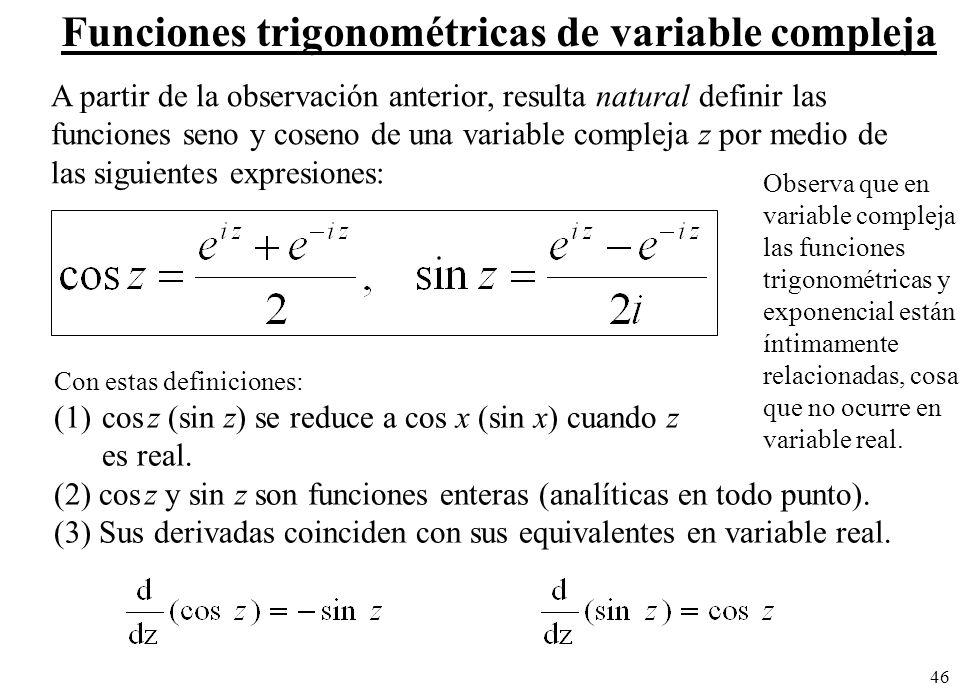 46 A partir de la observación anterior, resulta natural definir las funciones seno y coseno de una variable compleja z por medio de las siguientes exp