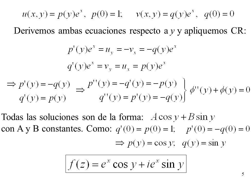 5 Todas las soluciones son de la forma: con A y B constantes. Como: Derivemos ambas ecuaciones respecto a y y apliquemos CR: