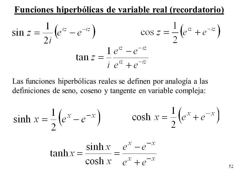 52 Las funciones hiperbólicas reales se definen por analogía a las definiciones de seno, coseno y tangente en variable compleja: Funciones hiperbólica