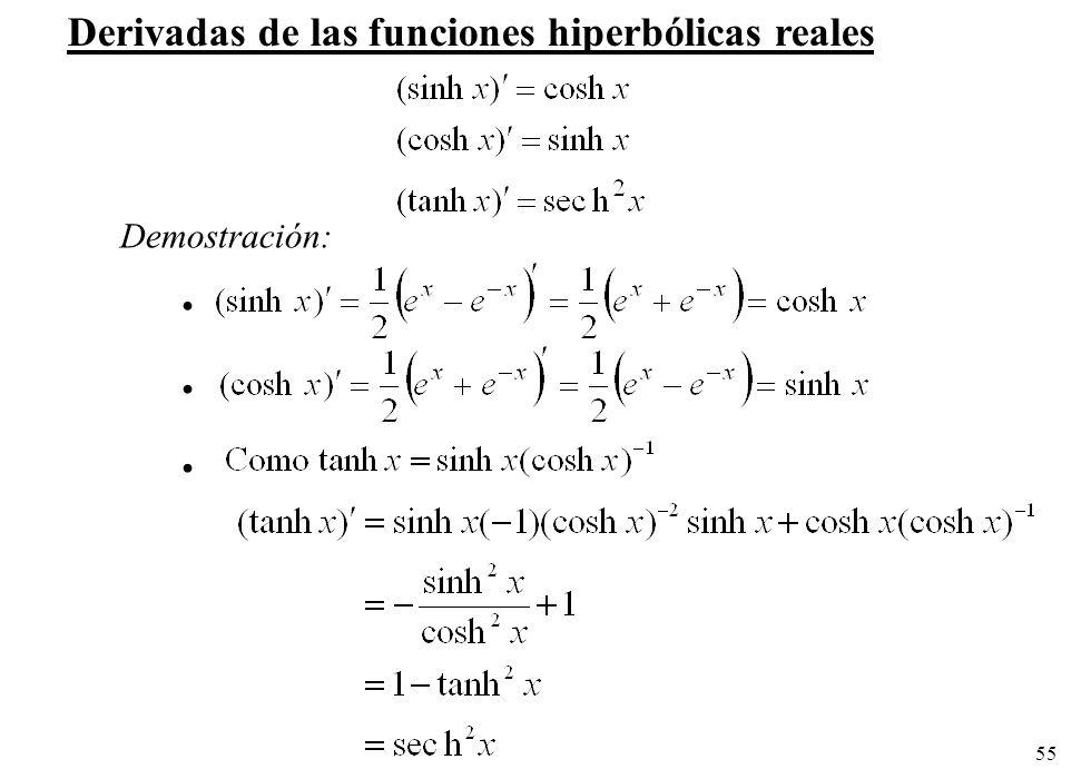 55 Derivadas de las funciones hiperbólicas reales Demostración: