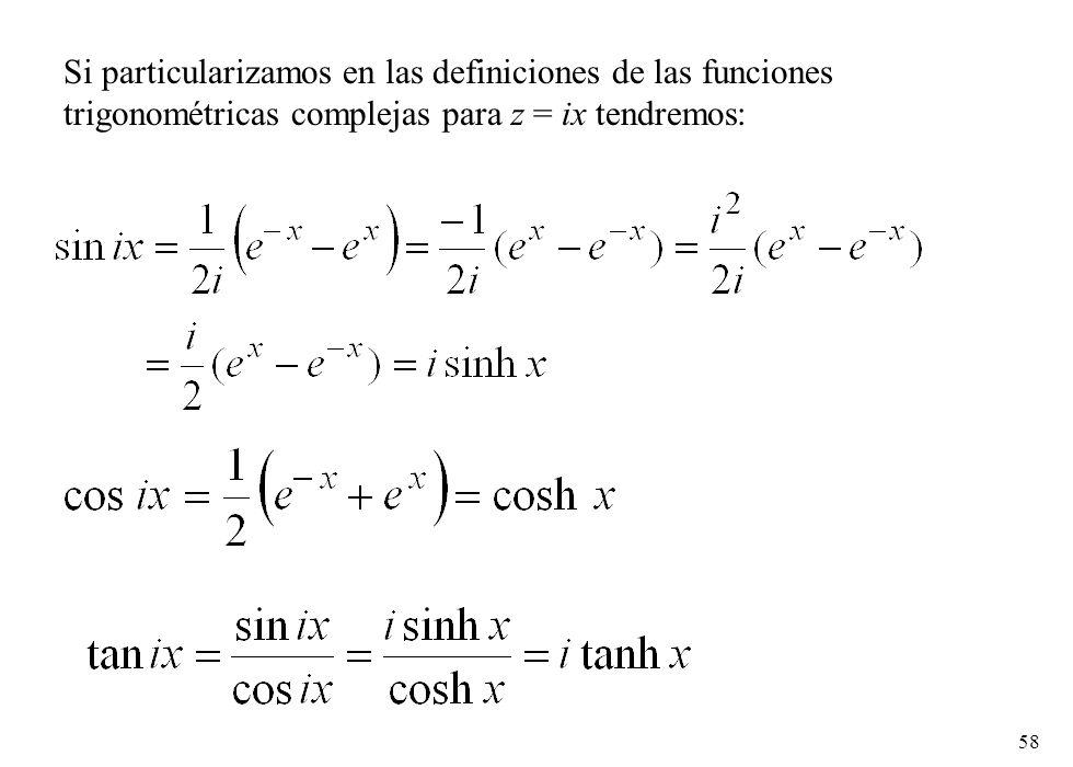 58 Si particularizamos en las definiciones de las funciones trigonométricas complejas para z = ix tendremos: