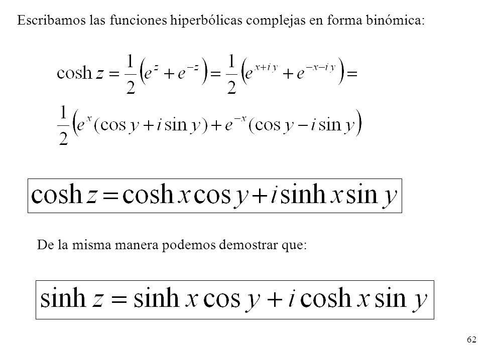 62 Escribamos las funciones hiperbólicas complejas en forma binómica: De la misma manera podemos demostrar que: