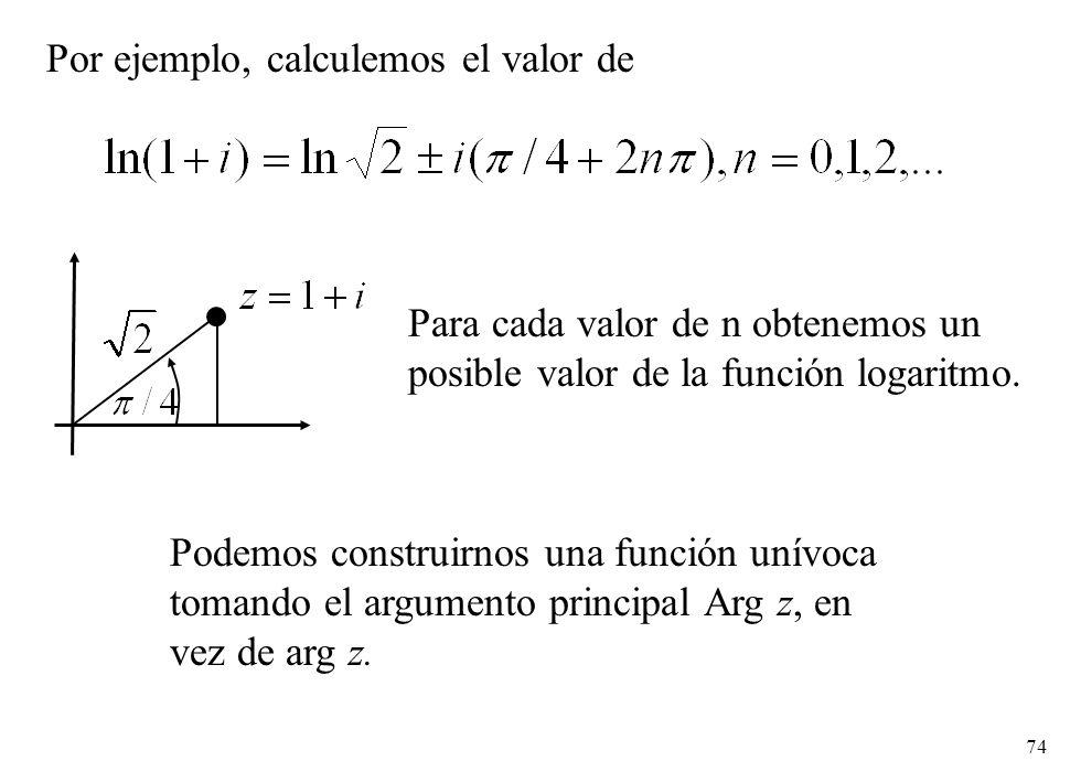74 Por ejemplo, calculemos el valor de Para cada valor de n obtenemos un posible valor de la función logaritmo. Podemos construirnos una función unívo