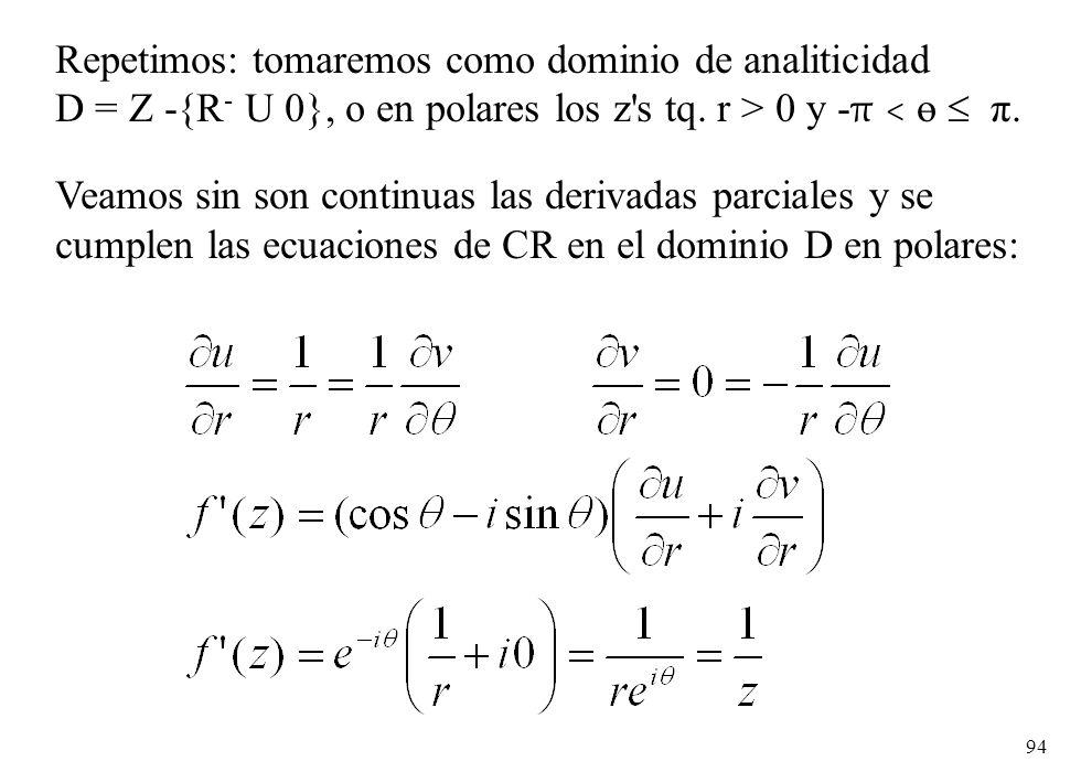 94 Veamos sin son continuas las derivadas parciales y se cumplen las ecuaciones de CR en el dominio D en polares: Repetimos: tomaremos como dominio de