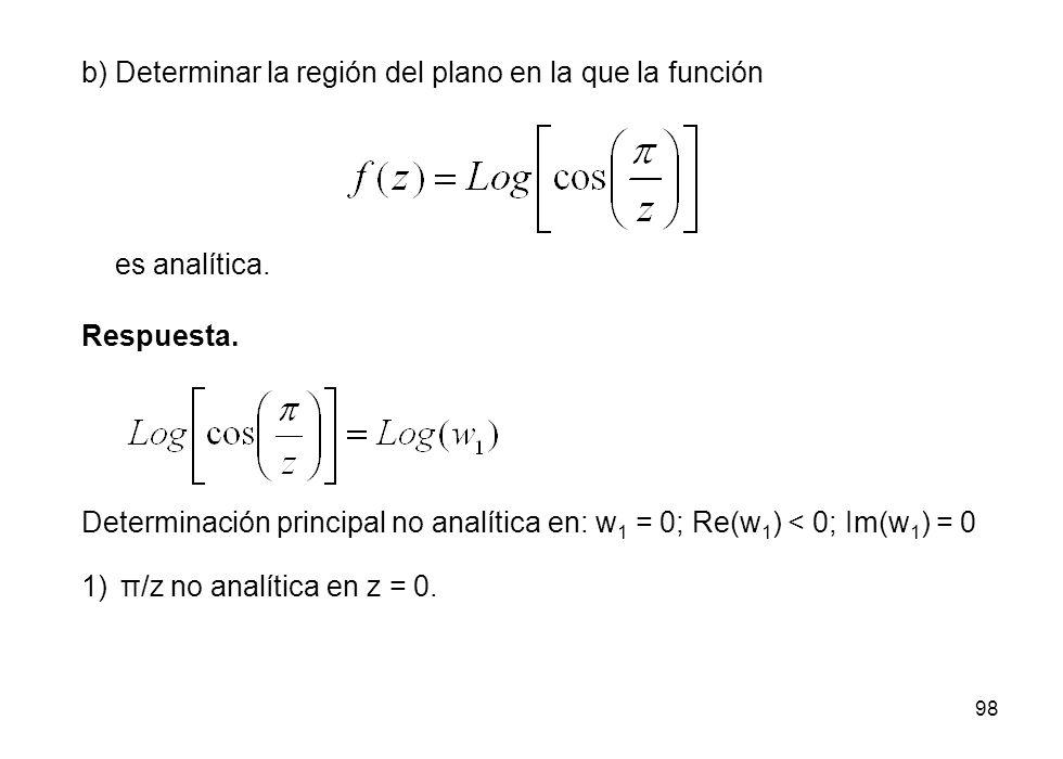 98 b) Determinar la región del plano en la que la función Respuesta. Determinación principal no analítica en: w 1 = 0; Re(w 1 ) < 0; Im(w 1 ) = 0 es a