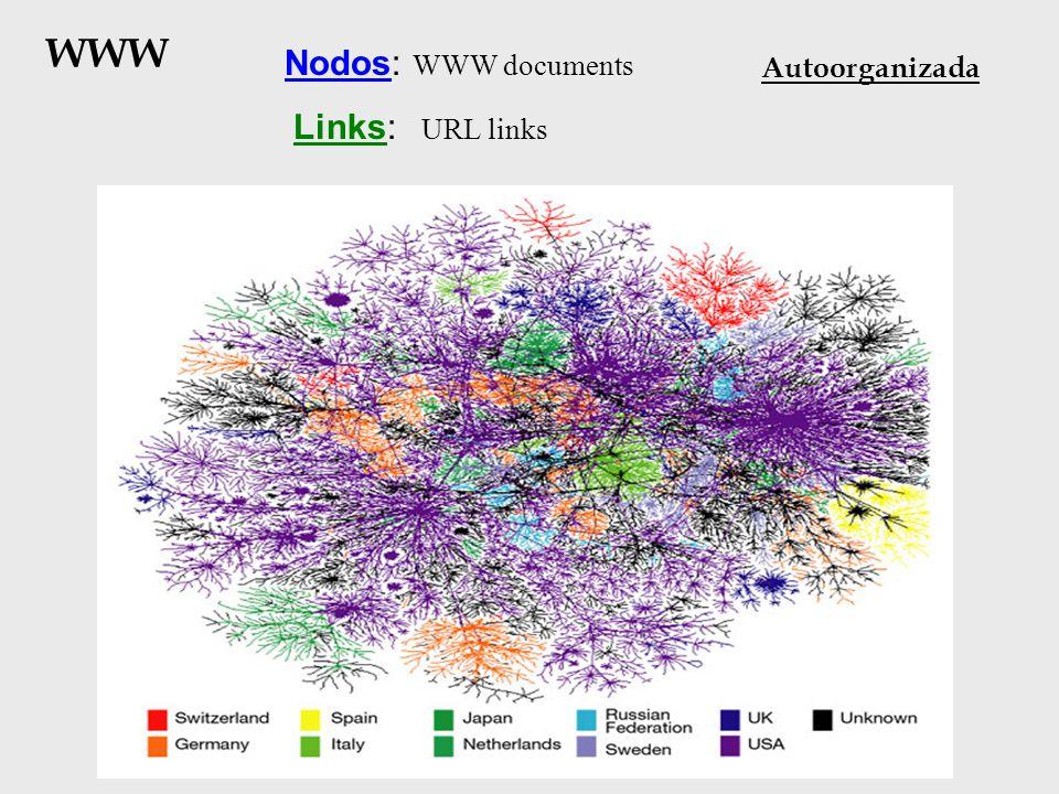 WWW Nodos: WWW documents Links: URL links Autoorganizada