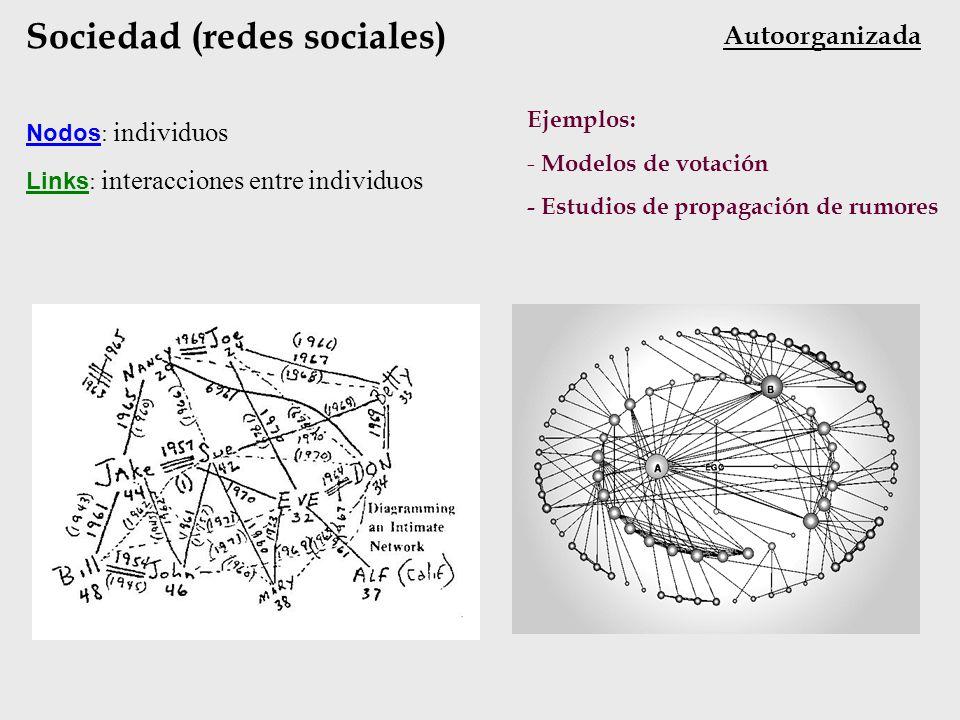 Sociedad (redes sociales) Nodos : individuos Links : interacciones entre individuos Ejemplos: - Modelos de votación - Estudios de propagación de rumor