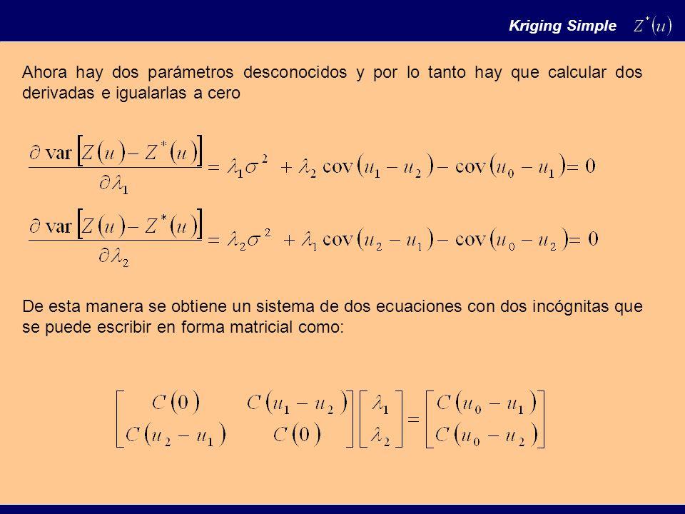 Ahora hay dos parámetros desconocidos y por lo tanto hay que calcular dos derivadas e igualarlas a cero De esta manera se obtiene un sistema de dos ecuaciones con dos incógnitas que se puede escribir en forma matricial como: Kriging Simple
