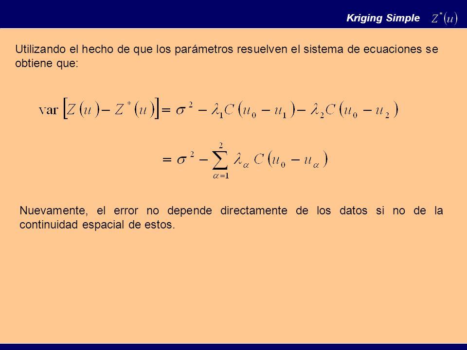 Utilizando el hecho de que los parámetros resuelven el sistema de ecuaciones se obtiene que: Nuevamente, el error no depende directamente de los datos si no de la continuidad espacial de estos.