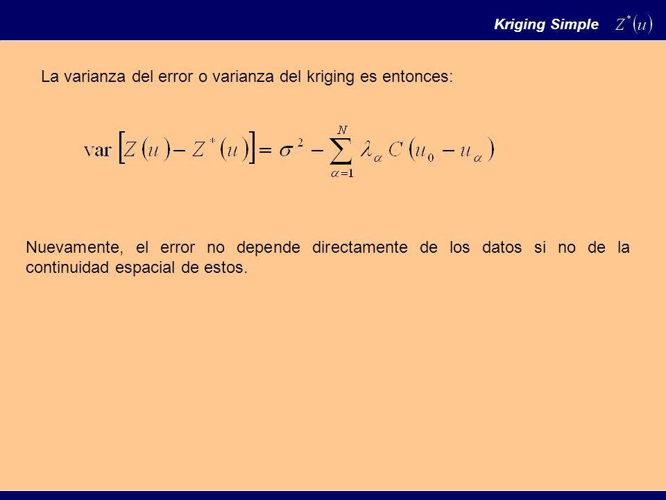 La varianza del error o varianza del kriging es entonces: Nuevamente, el error no depende directamente de los datos si no de la continuidad espacial de estos.