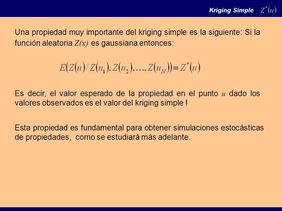 Una propiedad muy importante del kriging simple es la siguiente: Si la función aleatoria Z(x) es gaussiana entonces: Es decir, el valor esperado de la propiedad en el punto u dado los valores observados es el valor del kriging simple .