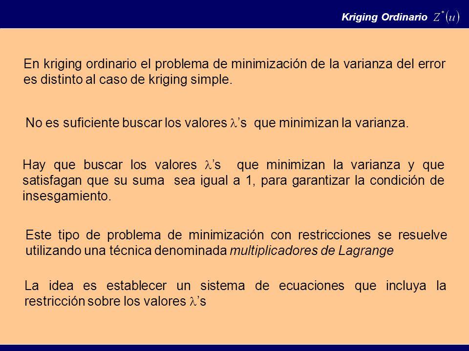 En kriging ordinario el problema de minimización de la varianza del error es distinto al caso de kriging simple.