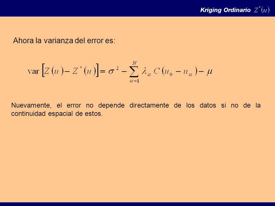 Kriging Ordinario Ahora la varianza del error es: Nuevamente, el error no depende directamente de los datos si no de la continuidad espacial de estos.