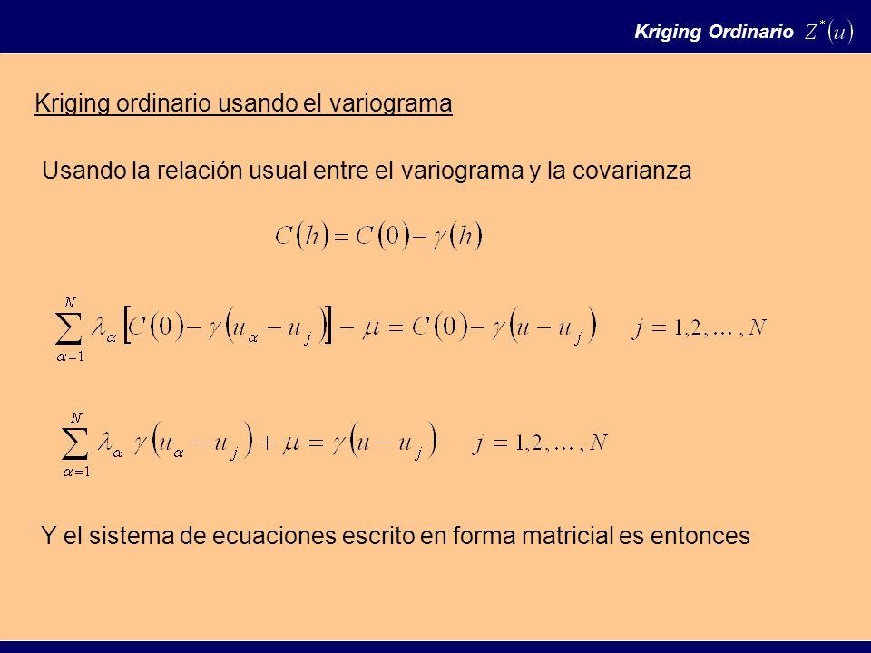 Kriging Ordinario Kriging ordinario usando el variograma Usando la relación usual entre el variograma y la covarianza Y el sistema de ecuaciones escrito en forma matricial es entonces
