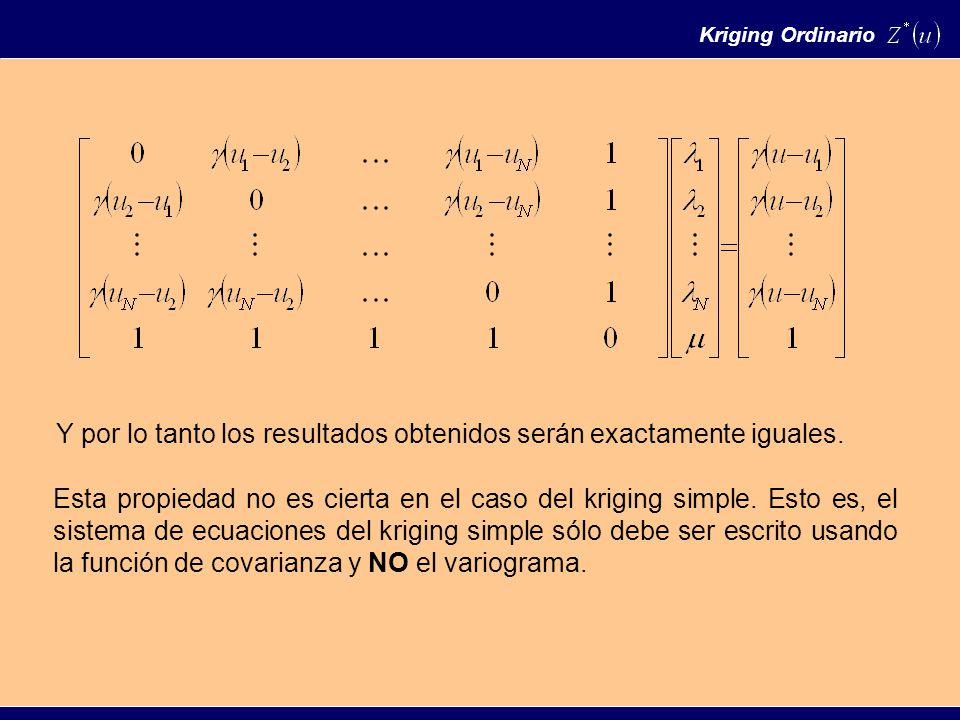 Kriging Ordinario Y por lo tanto los resultados obtenidos serán exactamente iguales.