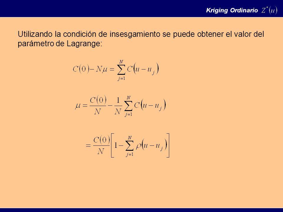 Utilizando la condición de insesgamiento se puede obtener el valor del parámetro de Lagrange: