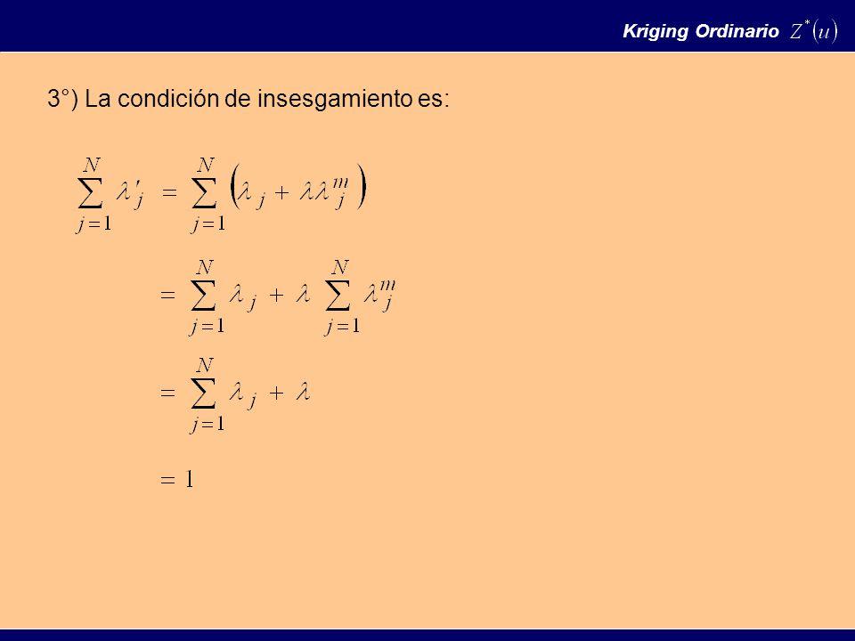 Kriging Ordinario 3°) La condición de insesgamiento es: