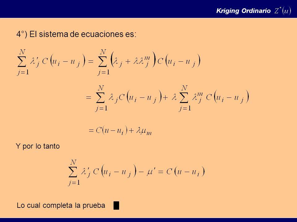Kriging Ordinario 4°) El sistema de ecuaciones es: Y por lo tanto Lo cual completa la prueba