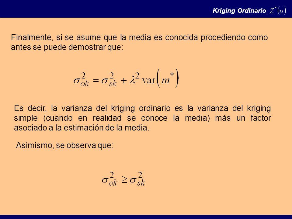 Kriging Ordinario Finalmente, si se asume que la media es conocida procediendo como antes se puede demostrar que: Es decir, la varianza del kriging ordinario es la varianza del kriging simple (cuando en realidad se conoce la media) más un factor asociado a la estimación de la media.