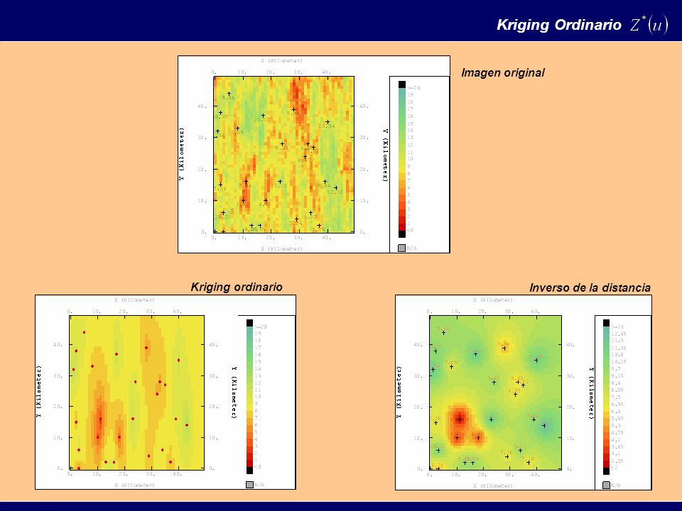 Imagen original Kriging ordinario Inverso de la distancia Kriging Ordinario