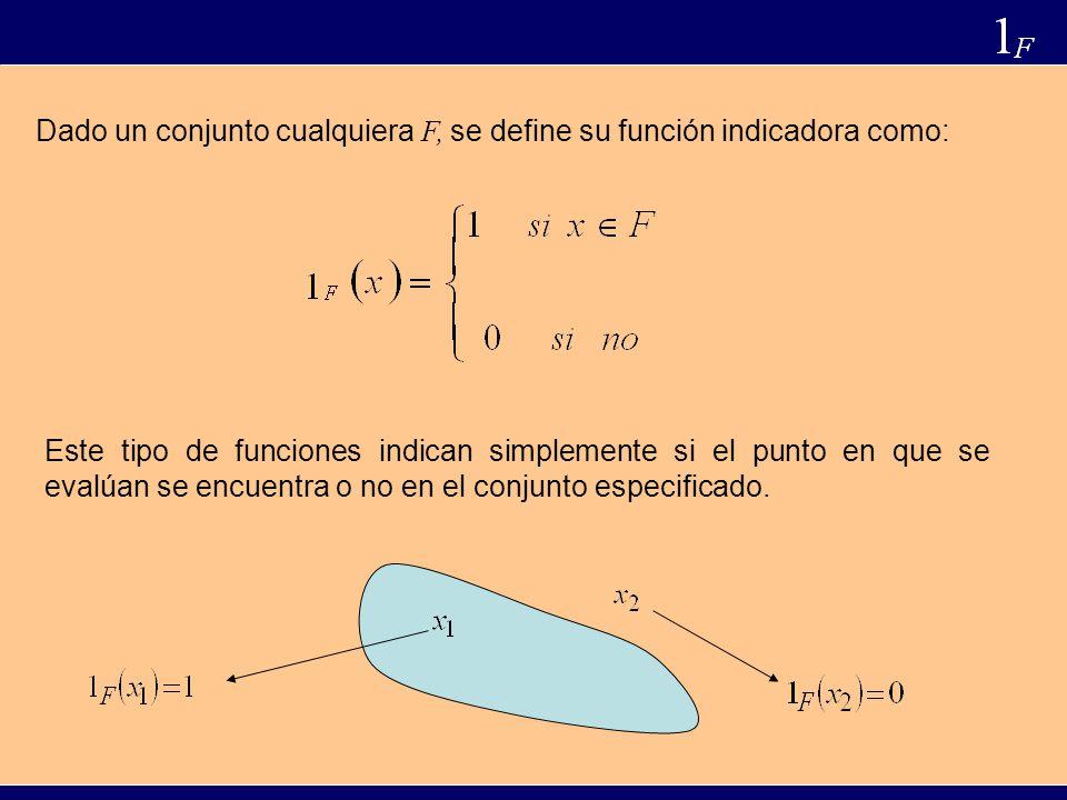 Dado un conjunto cualquiera F, se define su función indicadora como: Este tipo de funciones indican simplemente si el punto en que se evalúan se encuentra o no en el conjunto especificado.