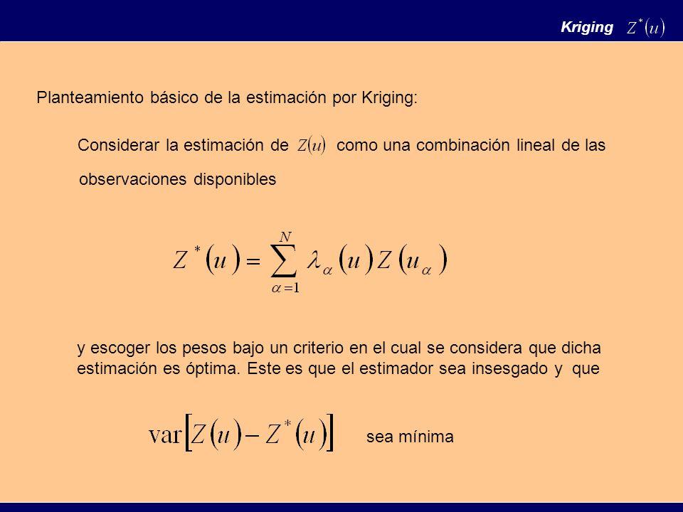 Como la proporción se asocia a la probabilidad se tiene que la estimación por kriging es una estimación de la probabilidad de que la facies F se encuentre en el punto u Se pueden obtener valores mayores de 1 y menores de 0, estos valores se deben corregir asignando 0 a los menores que cero y 1 a los mayores que 1.
