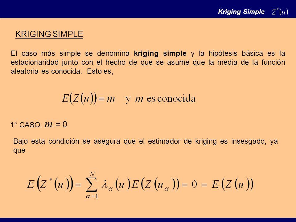 Kriging Simple El caso más simple se denomina kriging simple y la hipótesis básica es la estacionaridad junto con el hecho de que se asume que la media de la función aleatoria es conocida.