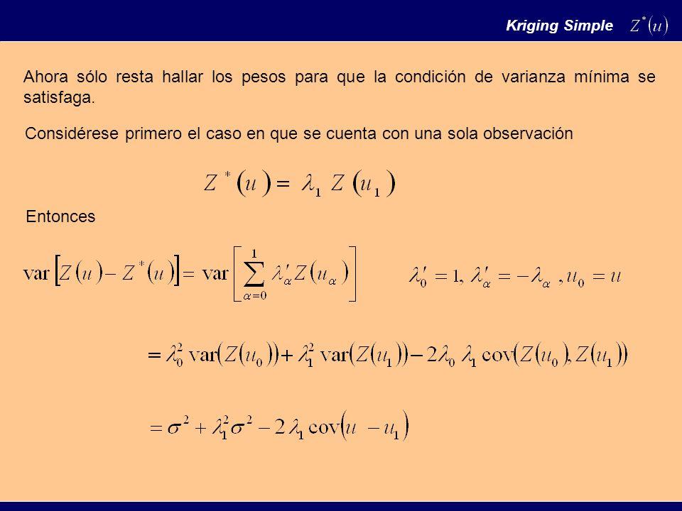Derivando respecto al parámetro e igualando a cero se tiene Con lo cual Es decir, el estimador de kriging simple es igual al valor conocido de la variable multiplicado por la correlación que existe entre la variable en el punto objetivo y la variable en el punto de observación.