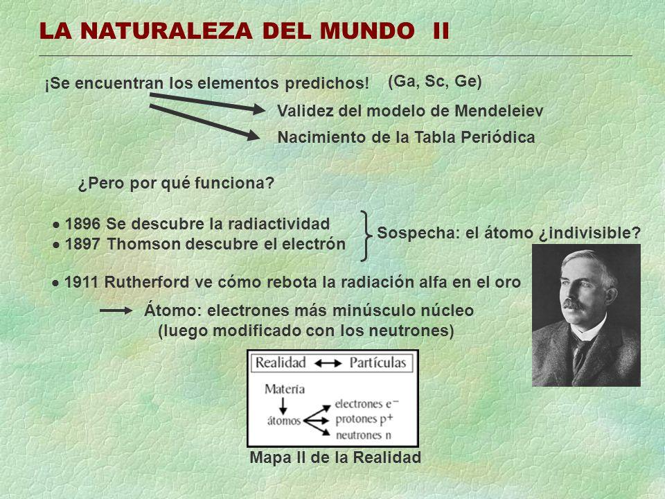 LA NATURALEZA DEL MUNDO II ¡Se encuentran los elementos predichos! Validez del modelo de Mendeleiev Nacimiento de la Tabla Periódica ¿Pero por qué fun