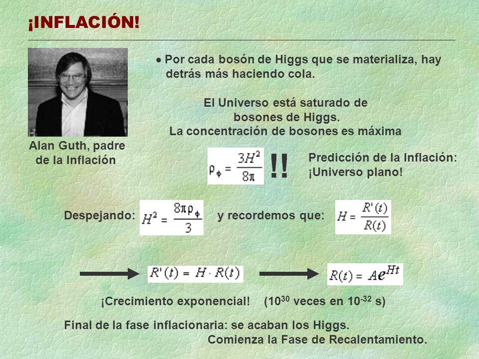 ¡INFLACIÓN! Alan Guth, padre de la Inflación Por cada bosón de Higgs que se materializa, hay detrás más haciendo cola. El Universo está saturado de bo