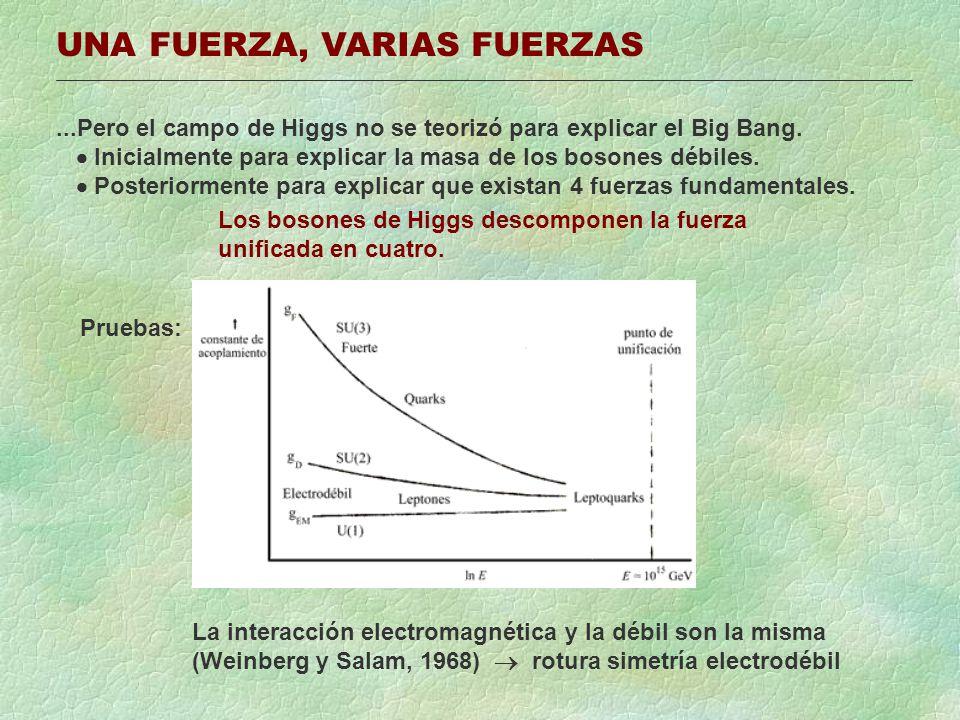 UNA FUERZA, VARIAS FUERZAS...Pero el campo de Higgs no se teorizó para explicar el Big Bang. Inicialmente para explicar la masa de los bosones débiles